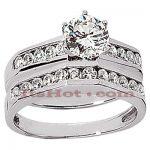 14K Gold Diamond Designer Engagement Ring Set 1.16ct