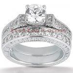 14K Gold Diamond Designer Engagement Ring Set 1.22ct