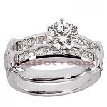14K Gold Diamond Designer Engagement Ring Set 1.25ct