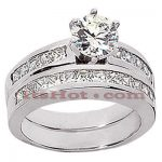 14K Gold Diamond Designer Engagement Ring Set 1.70ct
