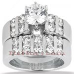14K Gold Diamond Designer Engagement Ring Set 1.76ct