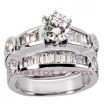 14K Gold Diamond Designer Engagement Ring Set 1.79ct