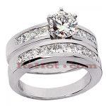 14K Gold Diamond Designer Engagement Ring Set 1.92ct