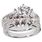 14K Gold Diamond Designer Engagement Ring Set 2.32ct