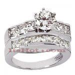 14K Gold Diamond Designer Engagement Ring Set 2.76ct