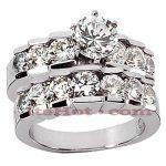 14K Gold Diamond Designer Engagement Ring Set 2.83ct