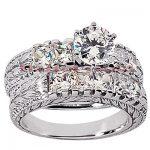 14K Gold Diamond Designer Engagement Ring Set 2.93ct