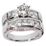 14K Gold Diamond Designer Engagement Ring Set 3.08ct