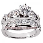 14K Gold Diamond Designer Engagement Ring Set 3.22ct