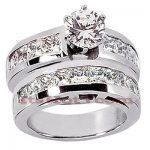 14K Gold Diamond Designer Engagement Ring Set 3.42ct