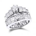 14K Gold Diamond Designer Engagement Ring Set 3.46ct