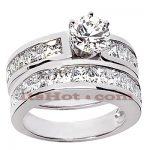 14K Gold Diamond Designer Engagement Ring Set 3.94ct