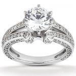 14K Gold Diamond Engagement Ring Mounting 0.65ct