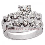 14K Gold Diamond Engagement Ring Set 1.58ct