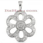 14K Gold Diamond Flower Pendant 1.02ct