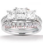14K Gold Diamond Three Stone Engagement Ring Set 0.87ct