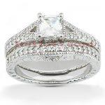 14K Gold Diamond Unique Engagement Ring Set 0.46ct
