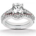 14K Gold Diamond Unique Engagement Ring Set 1.04ct