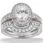 14K Gold Diamond Unique Engagement Ring Set 1.06ct