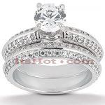 14K Gold Diamond Unique Engagement Ring Set 1.29ct