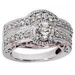 14K Gold Diamond Unique Engagement Ring Set 1.31ct