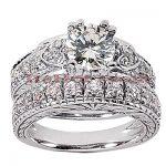 14K Gold Diamond Unique Engagement Ring Set 2.14ct