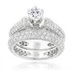 14K Gold Diamond Unique Engagement Ring Set 2.45ct