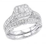 14K Gold Halo Princess Cut Diamond Engagement Ring & Wedding Band Set 1.5c