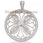 14K Gold Ladies Circle Diamond Pendant 1.88ct