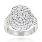 14K Gold Ladies Pave Diamond Ring 1.20ct