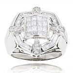 14K Gold Mens Designer Diamond Ring 1.98ct