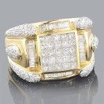 14K Gold Mens Diamond Ring 2.88ct