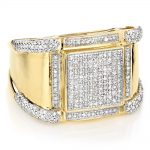 14K Gold Mens Diamond Ring Pave Round Diamonds 1ct