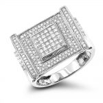 14K Gold Mens Diamond Ring Round & Princess 1.17ct