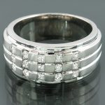 Mens Princess Diamond Wedding Ring 0.83ct 14K Gold