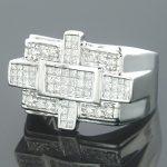 14K Gold Mens Princess & Round Diamond Ring 1.87ct