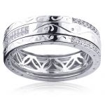 14K Gold Ornamented Mens Diamond Wedding Band 0.65ct