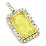 24K Gold Pamp Suisse Bar Diamond Pendant 2.5ct Dog Tag