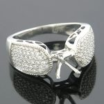 14K Gold Pave Diamond Engagement Ring Setting 0.71ct