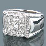 Pave Set Mens Round Diamond Ring 1.80ct 14K Gold