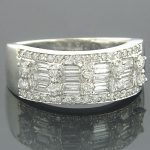 14K Gold Round & Baguette Diamond Bands Item 1.10ct