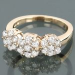 14K Gold Round Diamond Cluster Ring Flower 0.78ct