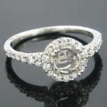 Halo 14K Gold Round Diamond Engagement Ring Setting 0.47ct