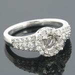 Halo 14K Gold Round Diamond Engagement Ring Setting 0.53ct