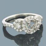 Halo 14K Gold Round Diamond Engagement Ring Setting 0.75ct