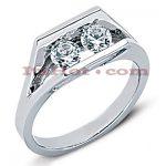 Thin 14K Gold Round Diamond Ladies Ring 0.50ct