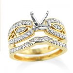 14K Gold Tacori Style Diamond Bridal Sets Engagement Ring & Band 0.5ct