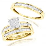 14K Gold Trio Diamond Engagement Ring Set 1.60ct