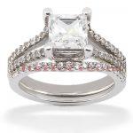 14K Gold Unique Diamond Engagement Ring Set 0.31ct