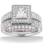 14K Gold Unique Diamond Engagement Ring Set 0.48ct